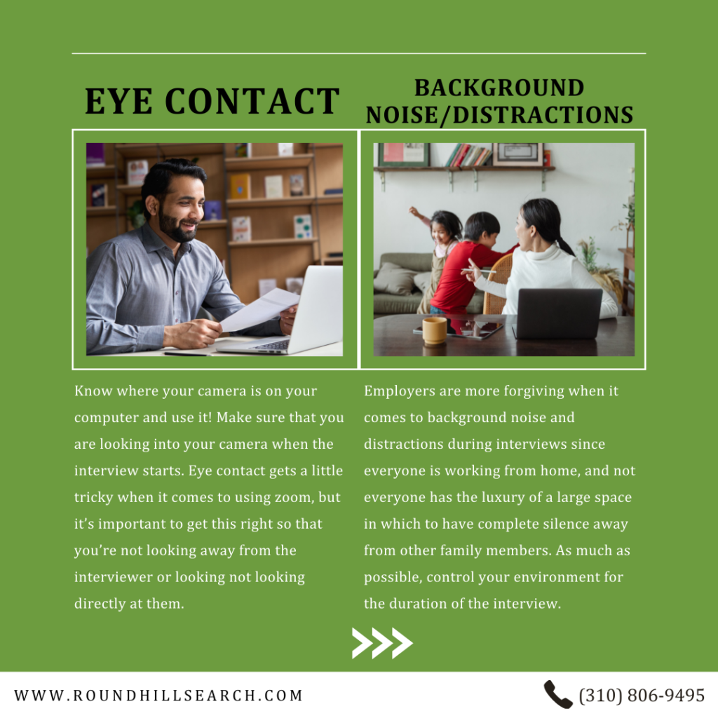zoom interview tips - eye contact and background noise / distractions