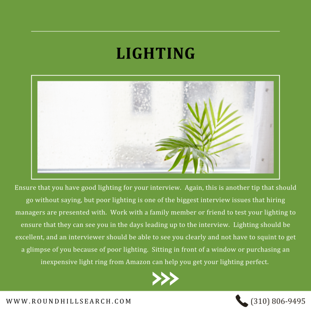 zoom interview tips - lighting