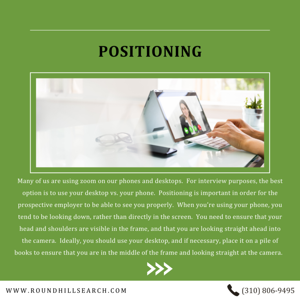 zoom interview tips - positioning